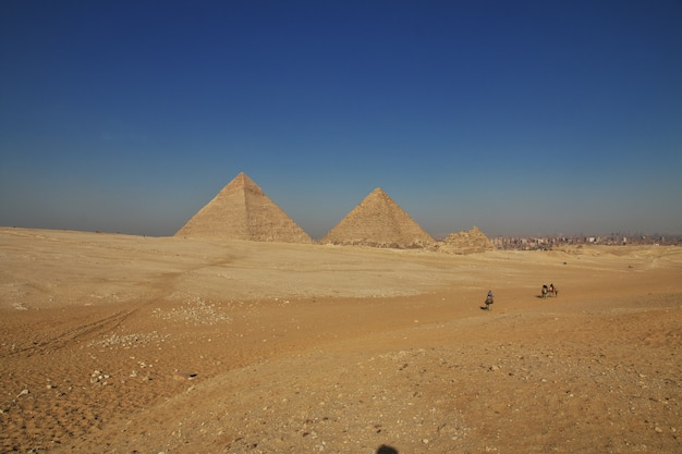 Great pyramids of ancient egypt in giza, cairo