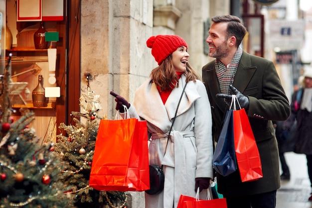 크리스마스 시간에 멋진 쇼핑