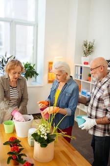 Хорошая команда. приятные пожилые люди сажают цветы, работая вместе в команде