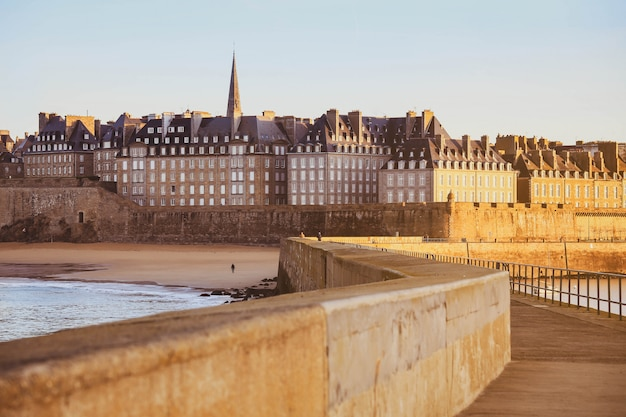 Great view in the morning  of fortificated town saint-malo in brittany