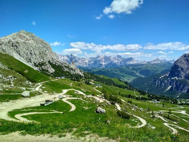 Great view of the top cadini di misurina range in national park tre cime di lavaredo. dolomites