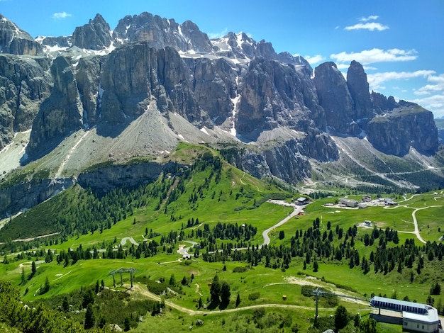Great view of the top cadini di misurina range in national park tre cime di lavaredo. dolomites,