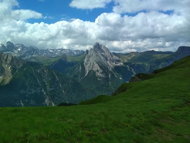 Great view of the top cadini di misurina range in national park tre cime di lavaredo.