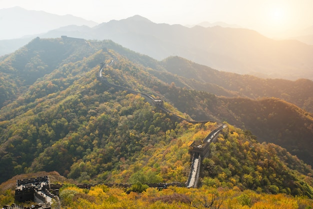 Great wall distant view compressed towers and wall segments autumn season