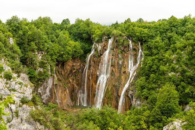 The great waterfall at plitvice lakes national park in croatia