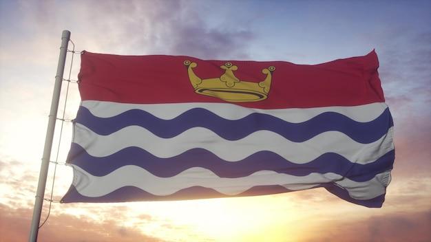 グレーターロンドンの旗、イギリス、風、空、太陽の背景に手を振っています。 3dレンダリング。