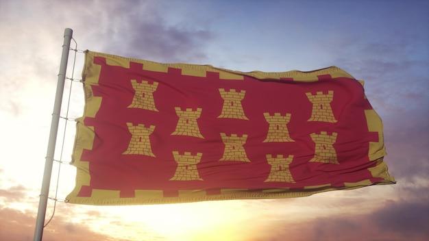 그레이터 맨체스터 플래그, 영국, 바람, 하늘 및 태양 배경에서 흔들며. 3d 렌더링.