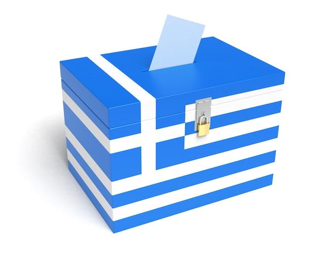 ギリシャの旗が付いているギリシャの投票箱。白い背景で隔離。