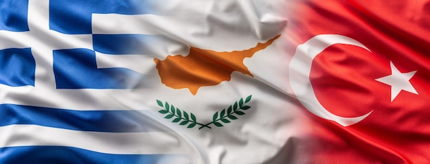 Greece< cyprus and turkey flags blowing in the wind.