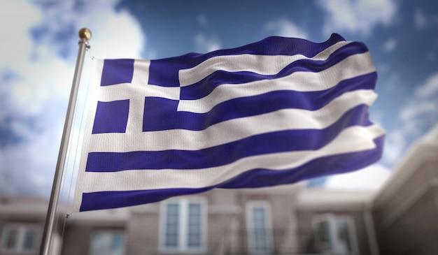 Греция флаг 3d рендеринг на фоне голубого неба