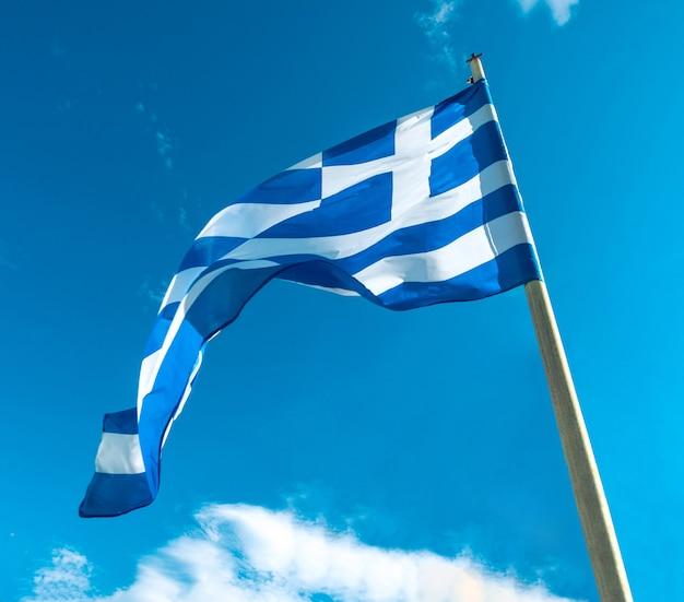 Greece flag on flagpole