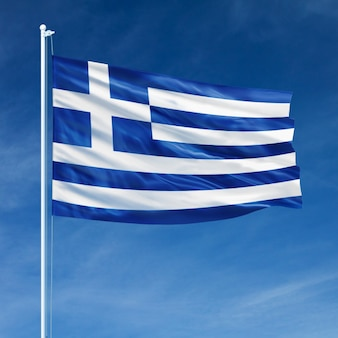 Greece flag flying