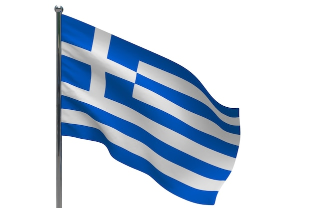 Флаг греции на полюсе. металлический флагшток. национальный флаг греции 3d иллюстрации на белом