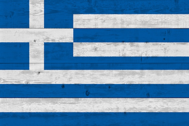 Greece flag painted on old wood plank
