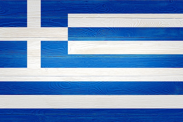 Greece flag painted on wooden planks