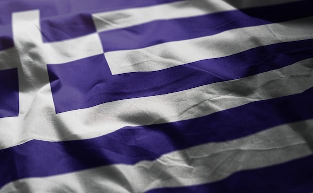 Greece flag rumpled close up