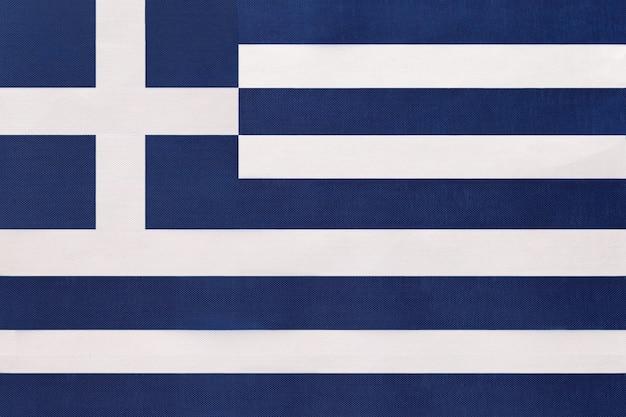 Greece national fabric flag, textile background. symbol of international world european country.