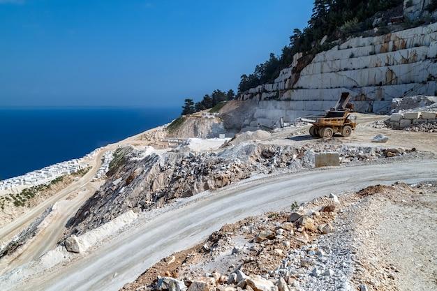 Греция остров тасос крутая дорога к мраморному пляжу по пути добыча мрамора