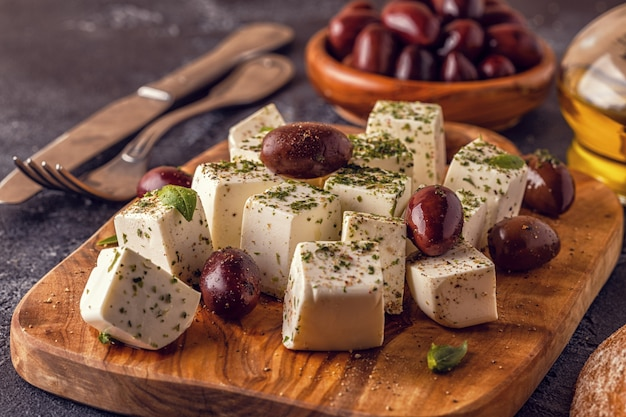 Greek cheese feta with oregano and olives
