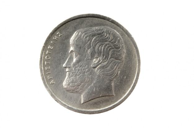 Greek drachma coin, 5 drachmas