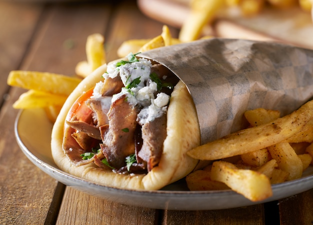 Greek gyro with lamb meat and feta cheese