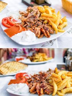 Греческие гироскопы на тарелке с картофелем фри и овощами. коллаж из двух фотографий.