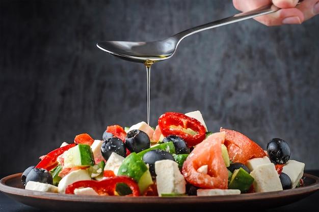Greek salad on dark background