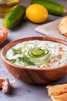 Greek salad tzatziki of cucumber, yogurt , olive oil, garlic, dill and spices.