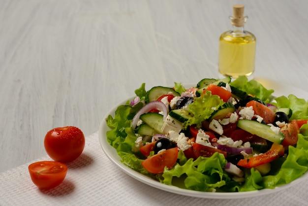 Greek salad. vegetarian food