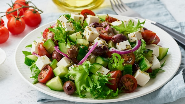 Greek salad with feta and tomatoes