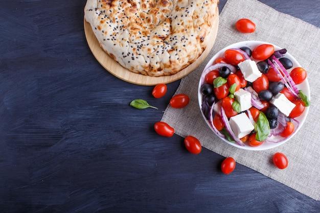 Greek salad with fresh cherry tomatoes
