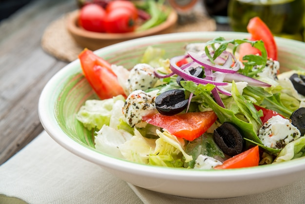 Greek salad with fresh vegetables, feta cheese