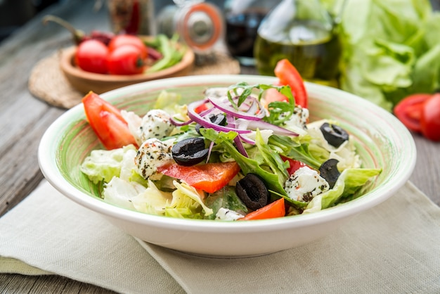 Greek salad with fresh vegetables, feta cheese
