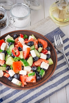 Greek salad with tomatoes, feta and olives