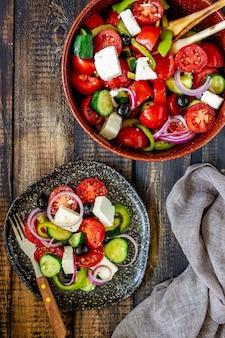 Greek salad on wood