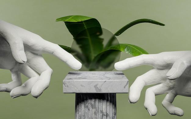 Стенд в греческом стиле с цементными руками, указывающими на центр, с нечеткой стеклянной сферой и растением сзади на зеленом фоне. 3d визуализация