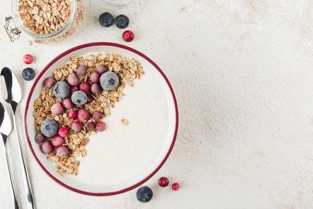 Греческий йогурт с мюсли, свежей черникой, клюквой и мятой в тарелке и две ложки на светлом фоне. легкий завтрак для диеты и фитнеса. вид сверху с копией пространства для текста