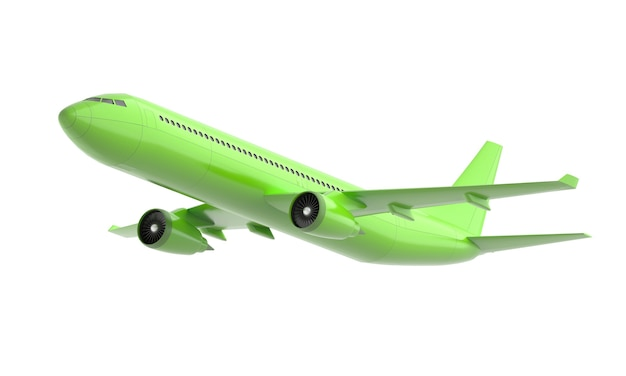 Green 3d airplane isolated on white background. 3d rendering.