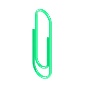 Green 3d isometric stationery paper clip