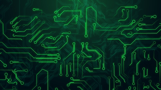 Green abstract background with high tech circuit board