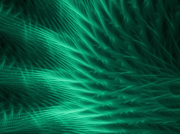 黒の背景に緑の抽象的な曲線