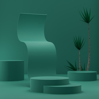 Green abstract podium on a gold background for product placement with tropical trees 3d render