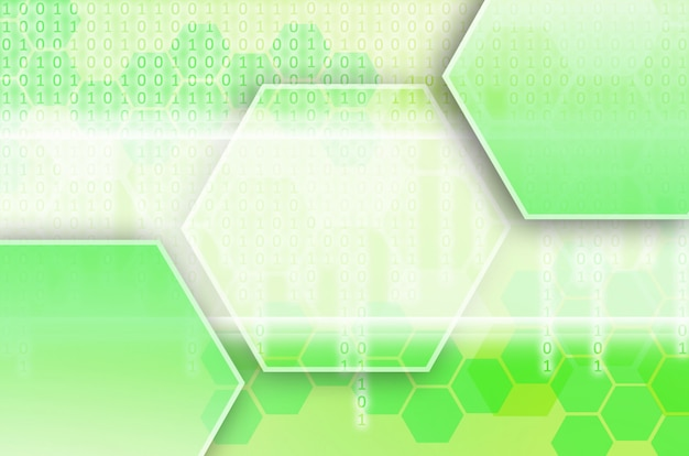 Green abstract technological background with hexagons