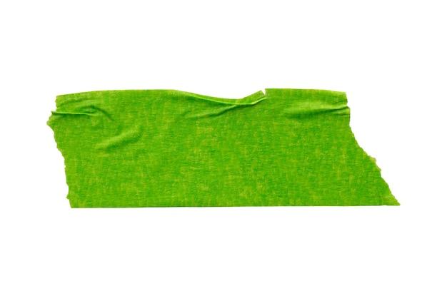 白い背景で隔離の緑の粘着紙テープ