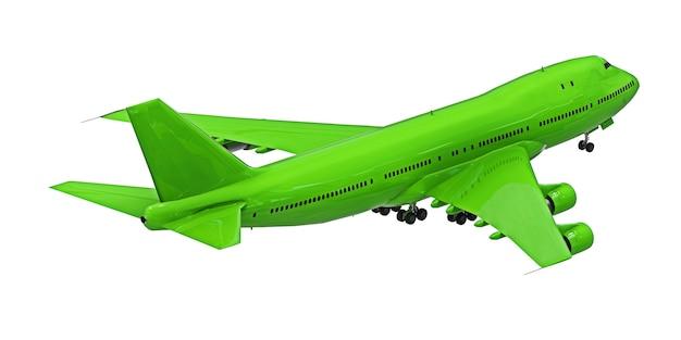 격리 된 흰색 배경에 녹색 비행기입니다. 장거리 대서양 횡단 비행을 위한 대용량의 대형 여객기. 3d 그림입니다.