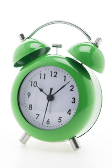 Green alarm clock with white background