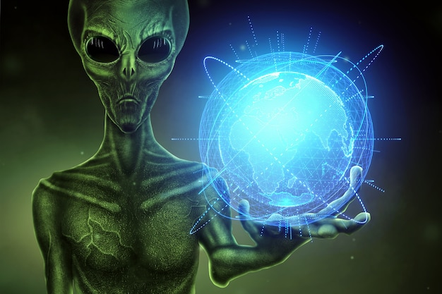 Green alien, humanoid, holds a hologram of the globe on his hand. ufo concept, aliens, contact with extraterrestrial civilization.