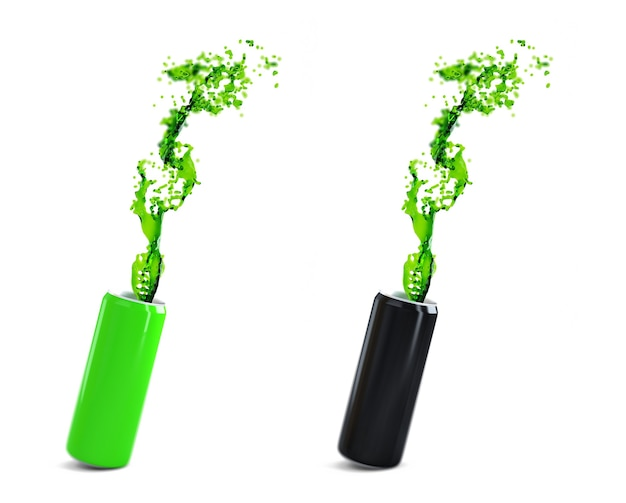 エネルギードリンク付きの緑と黒のアルミ缶。白で隔離