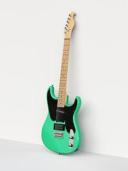 흰색 배경에 녹색과 검은색 6현 일렉트릭 기타가 벽에 기대어 있습니다. 3d 렌더링.