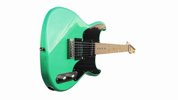 흰색 격리된 배경에 녹색 및 검은색 6현 일렉트릭 기타. 3d 렌더링.